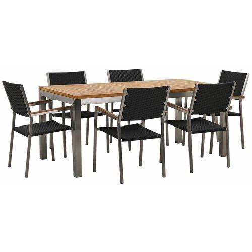 Beliani - Gartenmöbel Set Teakholz Edelstahl Tisch 180 cm 6