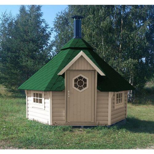 Der Holzwurm - Grillkota Caro 9 m² mit grünen Dachschindeln