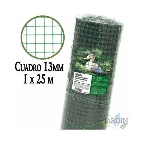 SUINGA Grünes Metallgitter, 13 mm im Quadrat. 1 x 25 Meter Plastikzaun