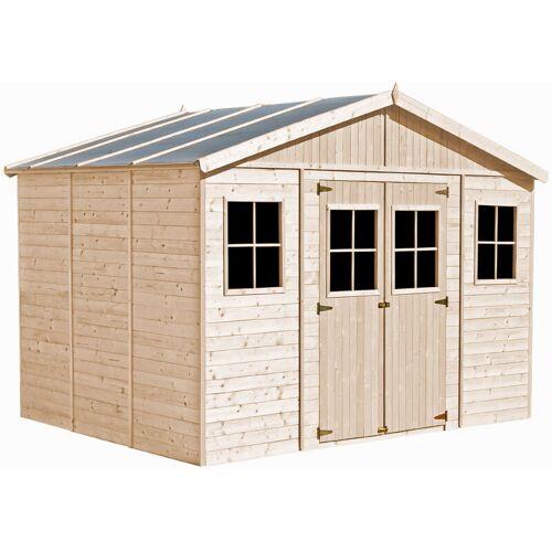 TIMBELA Holz Gartenschuppen - Abstellkammer mit Fenstern - 418x318 cm/12 m²