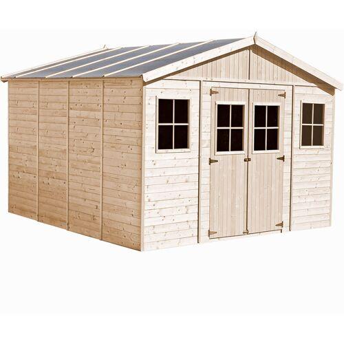TIMBELA Holz Gartenschuppen - Abstellkammer mit Fenstern - 418x418 cm/16 m²