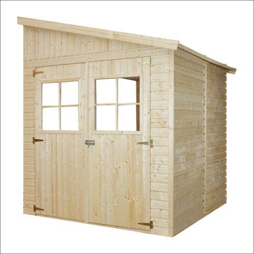 TIMBELA Holz Gartenschuppen (ohne Seitenwand) - Abstellkammer mit Fenstern