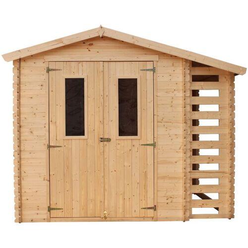 TIMBELA Holzhaus Gartenhaus mit Brennholzschuppen TIMBELA M386C+M386G