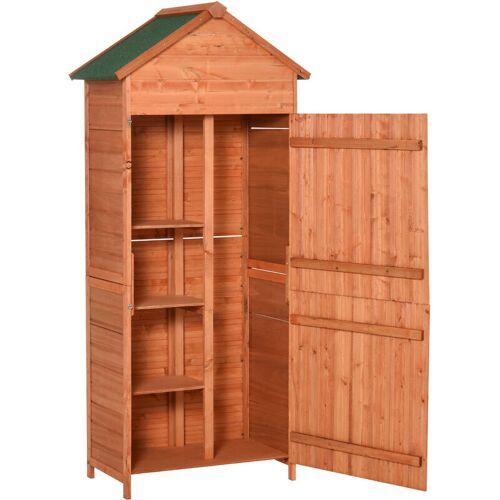 Outsunny® Gartenschrank Gartengerät Massivholz 90 x 50 x 190 cm - braun