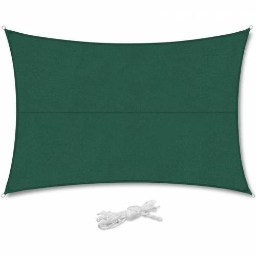 SEKEY PES Sonnensegel 300 x 400cm Sonnenschutzsegel, Grün mit Seil