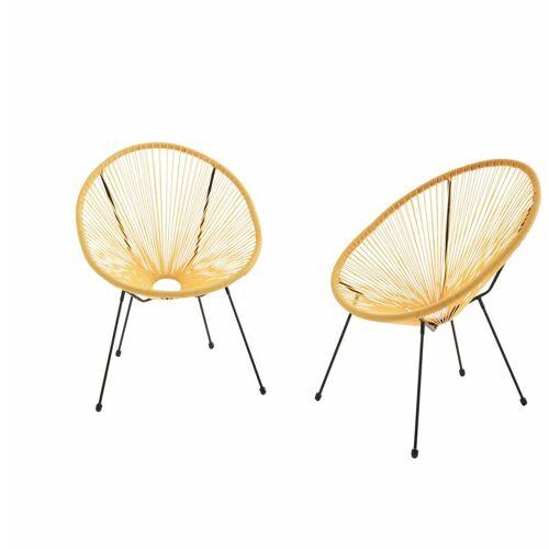 ALICE'S GARDEN Set mit 2 eierförmigen Sesseln - Acapulco Gelb - 4-beiniger Sessel im