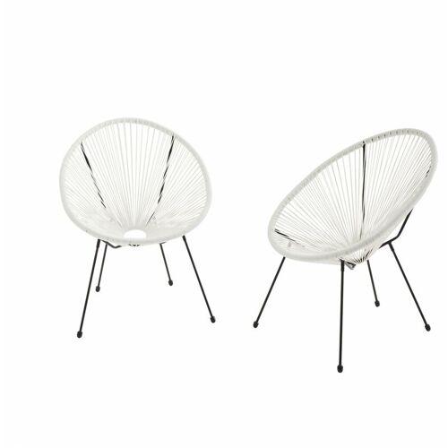 ALICE'S GARDEN Set mit 2 eierförmigen Sesseln - Acapulco Weiß - 4-beiniger Sessel im