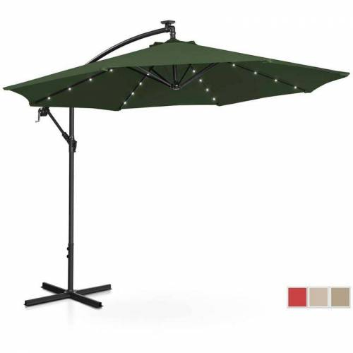 UNIPRODO Sonnenschirm Ampelschirm mit LED UNI_UMBRELLA_R300GRL Gartenschirm