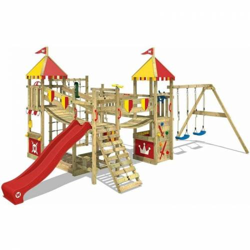 WICKEY Spielturm Ritterburg Smart Queen mit Schaukel & roter Rutsche,