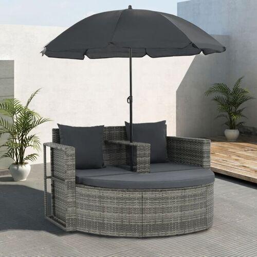 YOUTHUP 2-Sitzer-Gartensofa mit Auflagen und Sonnenschirm Grau Poly Rattan