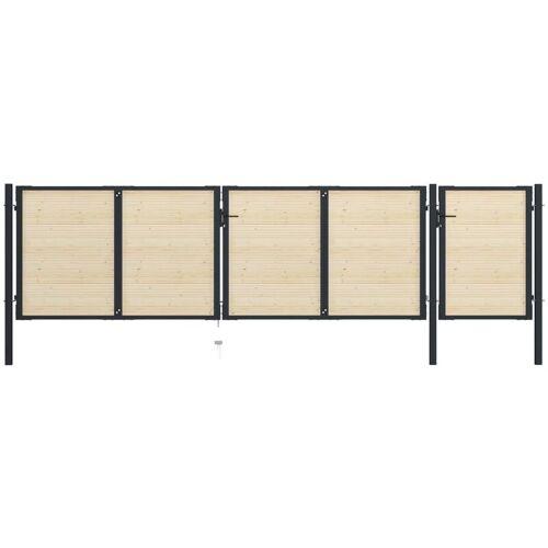 VIDAXL Zauntor Stahl und Fichtenholz 513×175 cm