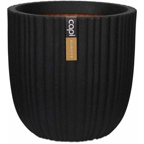 CAPI Blumentopf Urban Tube Oval 35 x 34 cm Schwarz KBLT932 - Capi
