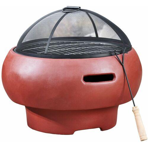 PEAKTOP Feuerstelle Holzofen Feuerschale im Beton-Stil BBQ Grill mit Schürhaken