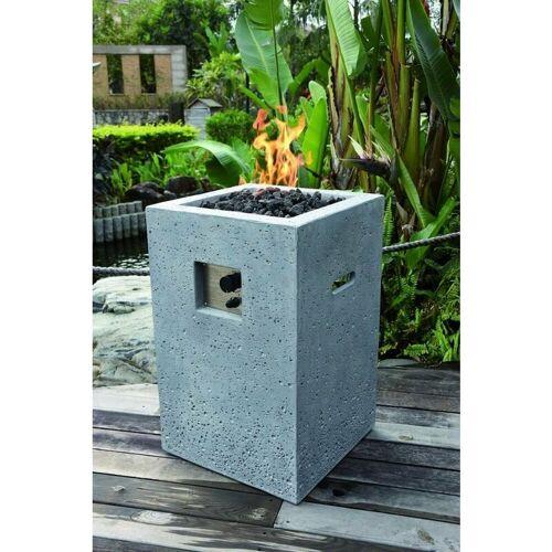 GARDENFORMA Gas-Feuerstelle Kelut in heller Natursteinoptik aus Faserbeton