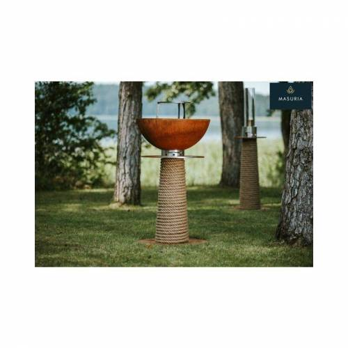 Masuria Feuerstelle & Plancha Grill Leuchtturm Cortenstahl 60 cm