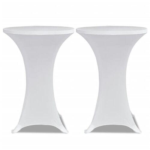 VIDAXL 2 x Tischhusse für Stehtisch Stretchhusse Ø80 cm weiß