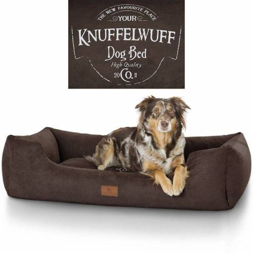 KNUFFELWUFF bedrucktes Hundebett Liam aus Velours XL 105 x 75cm Braun - Knuffelwuff