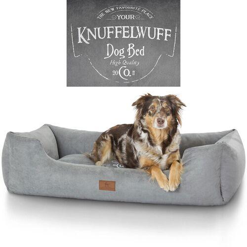 KNUFFELWUFF bedrucktes Hundebett Liam aus Velours XL 105 x 75cm Grau - Knuffelwuff