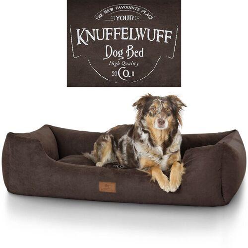 KNUFFELWUFF bedrucktes Hundebett Liam aus Velours XXL 120 x 85cm Braun - Knuffelwuff