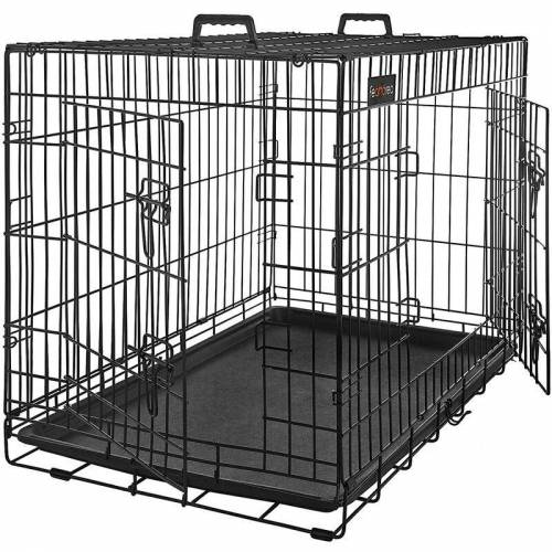 SONGMICS FEANDREA Hundekäfig, Hundebox, 2 Türen, 122 x 74,5 x 80,5 cm, schwarz