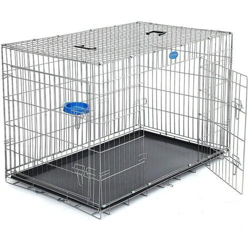 SONGMICS FEANDREA Hundekäfig Hundebox Transportbox Drahtkäfig Katzen Hasen Nager
