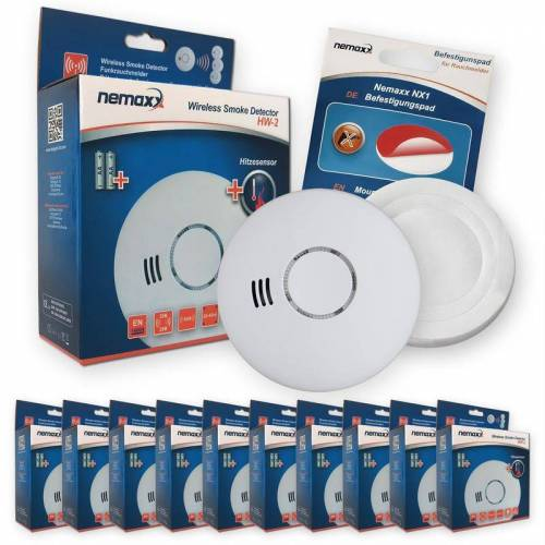 NEMAXX 10x Nemaxx HW-2 Funkrauchmelder Rauchmelder Hitzemelder mit