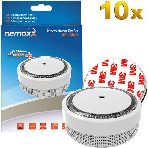 NEMAXX 10x M1-Mini Rauchmelder weiß - fotoelektrischer Rauchwarnmelder nach