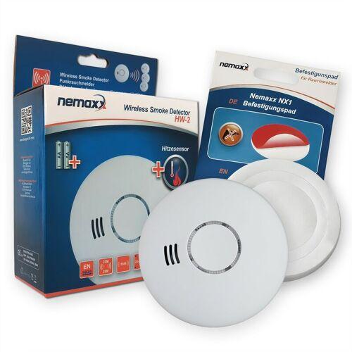 NEMAXX 1x HW-2 Funkrauchmelder Rauchmelder Hitzemelder mit kombiniertem Rauch