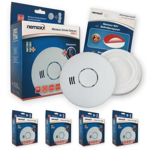 NEMAXX 4x HW-2 Funkrauchmelder Rauchmelder Hitzemelder mit kombiniertem Rauch