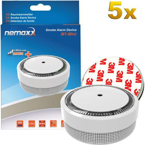 NEMAXX 5x M1-Mini Rauchmelder weiß - fotoelektrischer Rauchwarnmelder nach