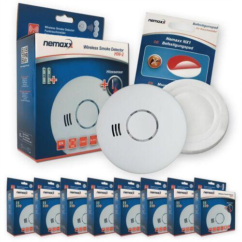 NEMAXX 8x HW-2 Funkrauchmelder Rauchmelder Hitzemelder mit kombiniertem Rauch