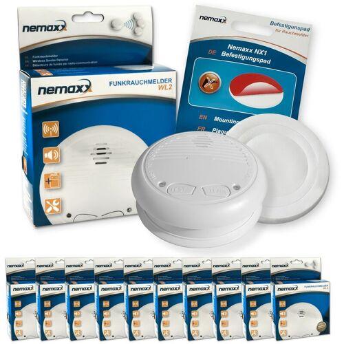 NEMAXX 10x WL2 Funkrauchmelder Rauchmelder Brandmelder Set Funk koppelbar