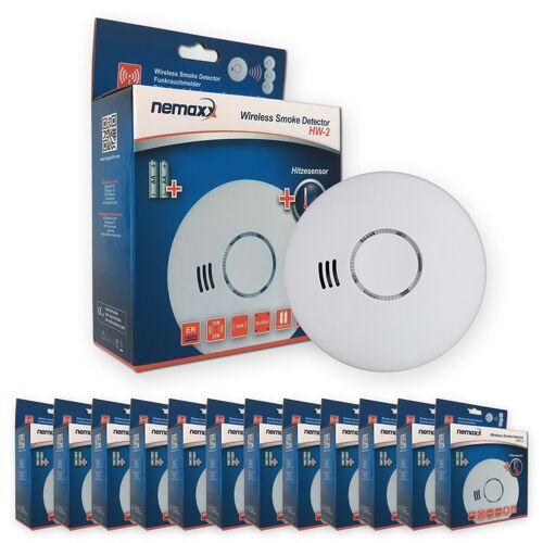 NEMAXX 12x Nemaxx HW-2 Funkrauchmelder Rauchmelder Hitzemelder mit