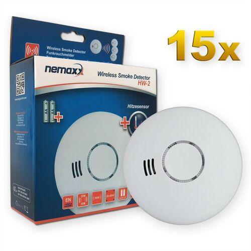 NEMAXX 15x Nemaxx HW-2 Funkrauchmelder Rauchmelder Hitzemelder mit