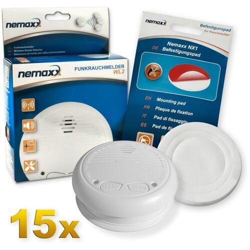 NEMAXX 15x WL2 Funkrauchmelder Rauchmelder Brandmelder Set Funk koppelbar