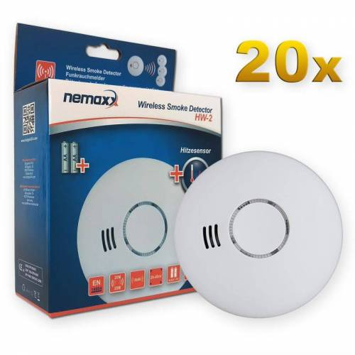 NEMAXX 20x Nemaxx HW-2 Funkrauchmelder Rauchmelder Hitzemelder mit