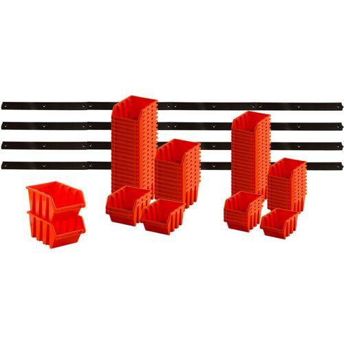 Bigdean - Flexibles Stapelboxen Wandregal - 89 tlg., 69 Boxen orange &