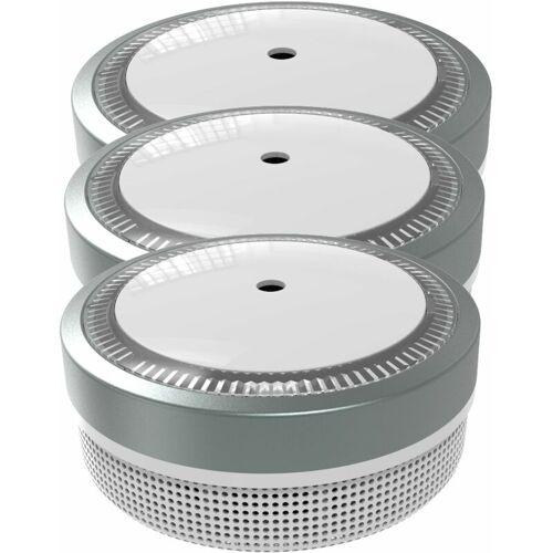 Jeising Mini Rauchmelder 3er Set RWM100-Grau, 10 Jahres Lithium