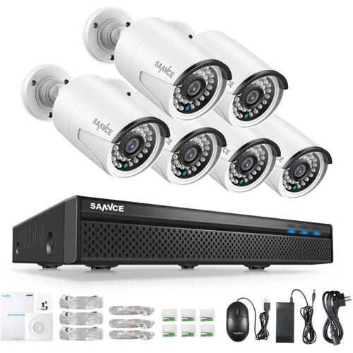 SANNCE 8CH 1080P FHD POE Netzwerk Video Sicherheitssystem Mit 6 STÜCKE 2MP