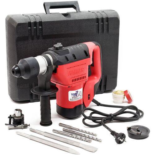Wiltec - Bohrhammer mit 1050W und 3000 U/min. inkl. 3 Bohrer und 2