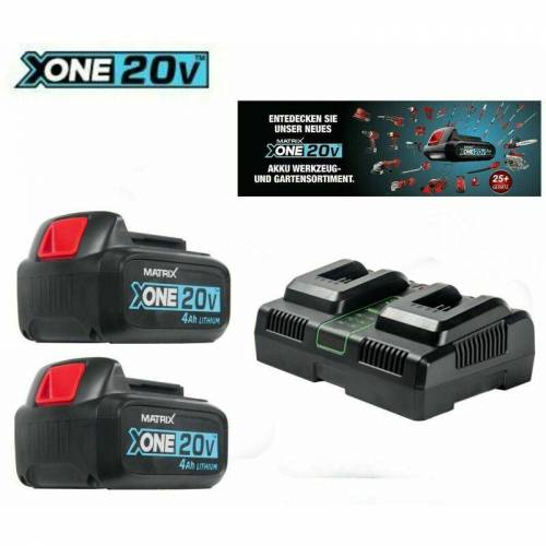 MATRIX Sparrset 2 X X-one 20 - Akku 20 V - 4.0 Ah & Doppel Ladegerät - Matrix