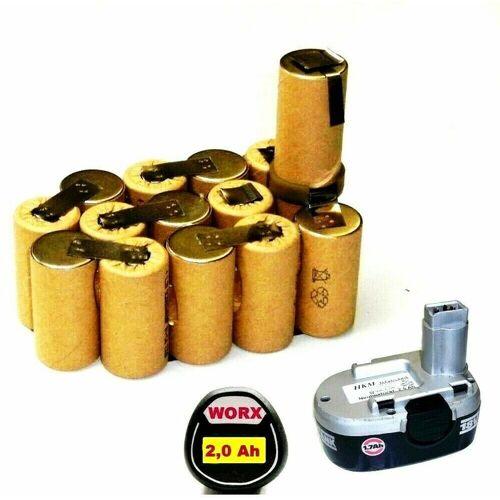 WORX Tauschpack für WORX Akku 18 V Nicd 1,7 Ah WA 3152 / 3702 mit 2 Ah.2000