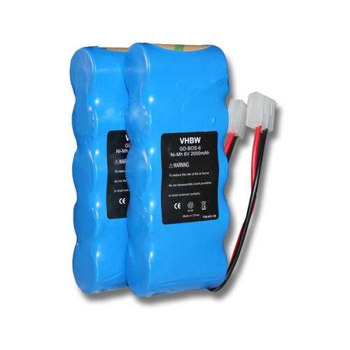 VHBW 2x Ni-MH Akku 2000mAh (6V) für Werkzeuge Somfy K8, Somfy K10, Somfy K12