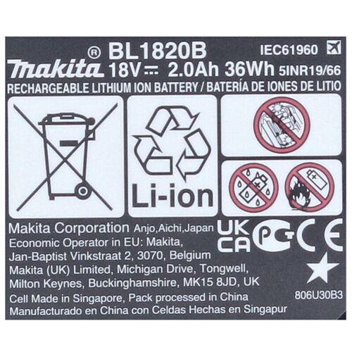Makita BL 1820 B 18 V - 2,0 Ah / 2000 mAh Li-Ion Akku mit LED - Anzeige