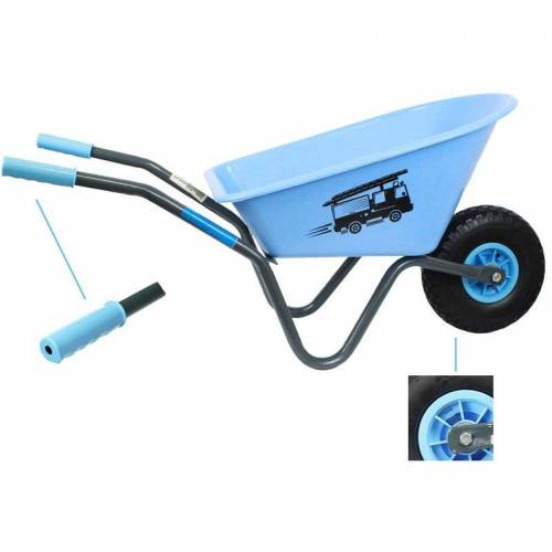 BAUMARKTPLUS Kinderschubkarre blau Feuerwehr Schiebkarre Metallschubkarre Gartenkarre