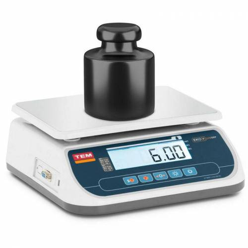 TEM Tischwaage 6 kg/2 g geeicht Marktwaage Ladenwaage LCD Akku 100 h