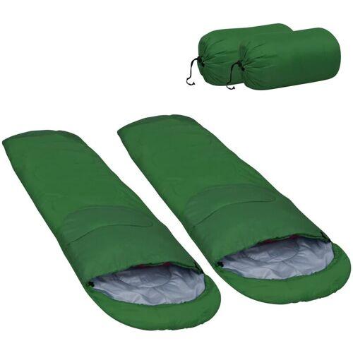 VIDAXL Leichte Schlafsäcke 2 Stk. Grün 15? 850g