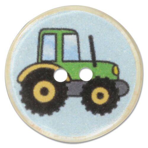 Jim Knopf Trecker-Knöpfe aus Kokos, 17 mm, 1 Stück, Grün