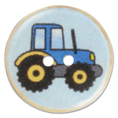 Jim Knopf Trecker-Knöpfe aus Kokos, 17 mm, 1 Stück, Blau