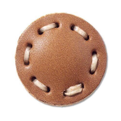 Braun Lederknopf Braun mit Steppnaht, Ø 2,5 cm
